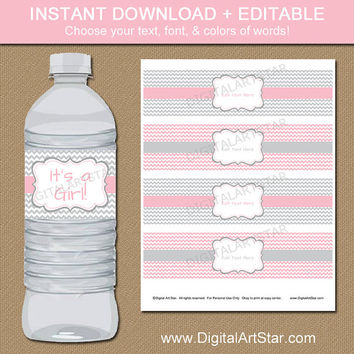 Pink & Gray Baby Shower Water Bottle Labels - EDITABLE in Adobe Reader - Printable Bridal Water Bottle Wraps - Baby Shower Decorations - PGC