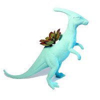Up-cycled Large Sized Key West Blue Duckbill Dinosaur Planter
