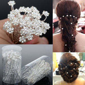 40PCS Wedding Accessories Bridal Pearl Hairpins Flower Crystal Rhinestone Diamante Hair Pins Clips Bridesmaid Women Hair Jewelry