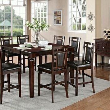9 Pc. Espresso Finish Contemporary Style With Butterfly Leaf Counter Height Dining Table Set And Upholstered Side Chairs