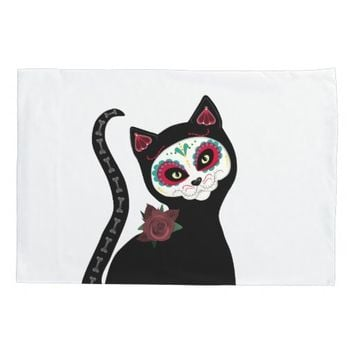 Day of the Dead Cat Pillowcase