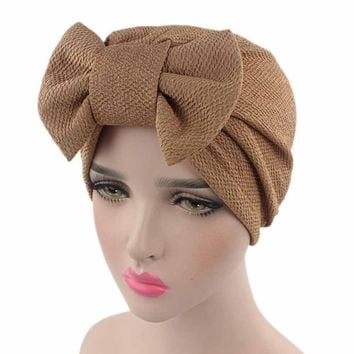 Solid Knitted hat Women Bow Cancer Chemo Hat Beanie Scarf Turban Head Wrap Cap For bandana bowknot Wrap cancer hat Cap Chemo