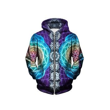 Psychedelic Zip Up Hoodies Trippy Visionary Artwork - Rainbow Mandala Chakra Art Sublimation Print Hoody