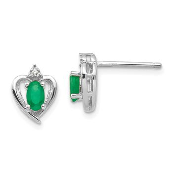 14k White Gold Diamond & Genuine Emerald Heart Stud Earrings