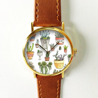Cactus Watch, Plant Watch, Women's Watch, Leather Watch, Ladies Watch, Vintage Style, Succulents, Gift