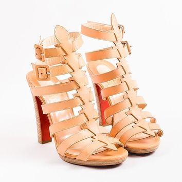DCCK Christian Louboutin Beige Leather Platform Neronna Gladiator Sandals