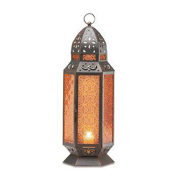 Metal Tall Amber Moroccan Style Candle Holder Lantern