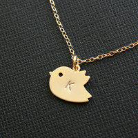 Custom initial gold baby bird necklace 14K gold by DelicacyJ