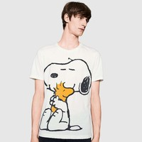 Snoopy Women Men Hot Fashion Print Short Sleeve T-shirt Top Couple White