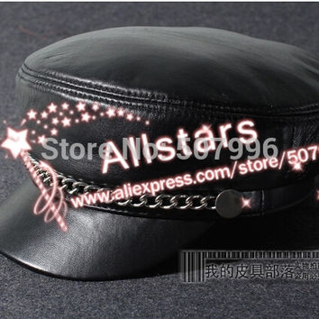 Free Shipping women casual chain genuine leather hat military vintage cap motorcycle sheepskin material cap D-1854