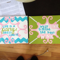 Lilly Pulitzer Quote Canvases