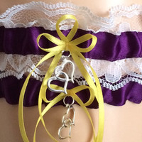 Wedding Garter, Bridal Garter Sets, Plum/Purple and White Lace Wedding Garter Set, Prom Garters, Keepsake Garter,