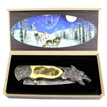 """TheBoneEdge 8"""" Wolf Pattern Handle & Blade Spring Assisted Folding Knife"""