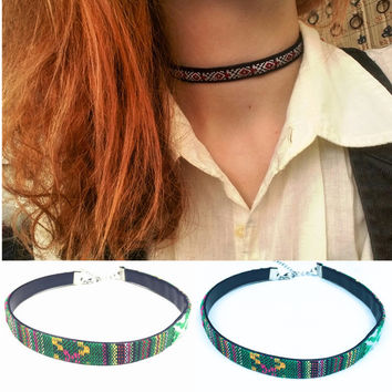 Fashion jewelry bohemian style flower design weaving friendship choker necklace gift for women girl X170