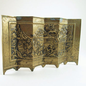 Vintage Asian Brass Room Divider, Vintage Asian Tabletop Decor, Brass Room Screen, Beautifully Embossed Asian Art, Desk Decor, Shelf Decor