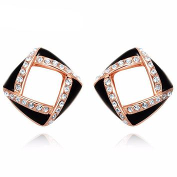 Rose Gold Color Square Rhinestone Paved Stud Earrings Girls Black/White Enamel Hollow out Fashion Jewelry