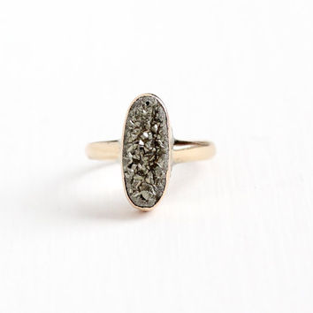 Antique 14k Rose Gold Edwardian Sparkly Pyrite Ring - 1910s Size 7 1/4 Glittery Druzy Oblong Oval Stone Fine Vintage Statement Jewelry