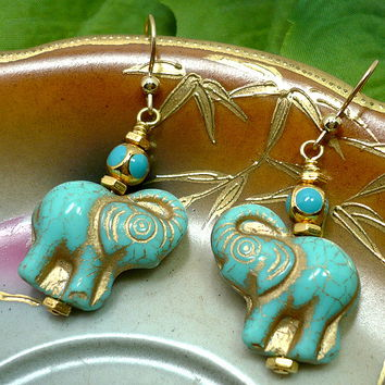 Turquoise Gold Washed Elephant Beads on 14k Gold Filled Ear Wires