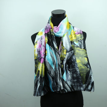 Floral Flower Women Fashion Satin Oil Painting Long Wrap Shawl Beach Silk Scarf 160X50cm style 1-20