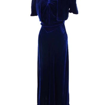 30s Blue Silk Velvet Bias Cut Evening Gown and Bolero