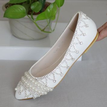 Fashion luxury rhinestone flats casual shoes for women wedding flat shoes white silver rhinestone pearls women shoes flats 2016