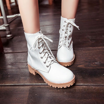 Women Ankle Boots Lace Up Punk Motorcycle Boots Shoes Woman 2016 3555