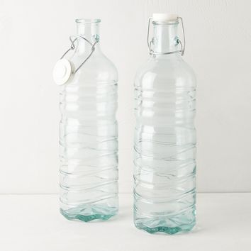 Mini Green Glass Storage Jugs