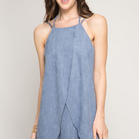 Dusty Blue Suede Layered Tulip Dress