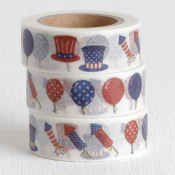 Fourth of July Firecrackers and Balloons Washi Tape, Uncle Sam Hats and Fireworks, 15mm