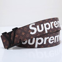 Supreme x LV joint name tide brand classic printing men and women fashion smooth buckle belt Black
