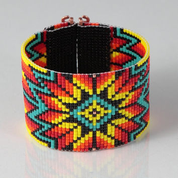 Native American Style Wide Cuff Bead Loom Bracelet - Artisanal Jewelry - Southwestern - American Indian Motif Jewelry -Western -Beaded Boho