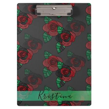 Red Doodle Roses Clipboard