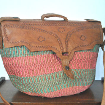 Woven Straw Bag Purse / Leather Market Tote