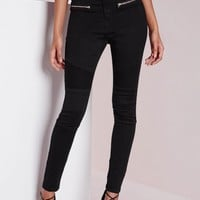 Missguided - Sinner High Waisted Skinny Biker Jeans Black