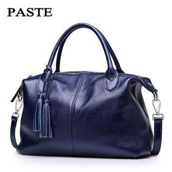 100% Nature Cow Genuine Leather Women Tote First Layer Cow Female Messenger Bags Satchel Fringed Shoulder Bags PT11