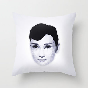 Audrey Hepburn | Polygonal Art Throw Pillow by Mirek Kodes