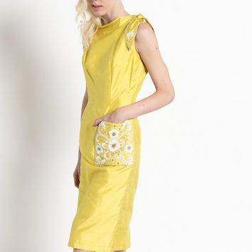 Vintage 60s Raw Silk Mustard Yellow Beaded Cocktail Dress | 2