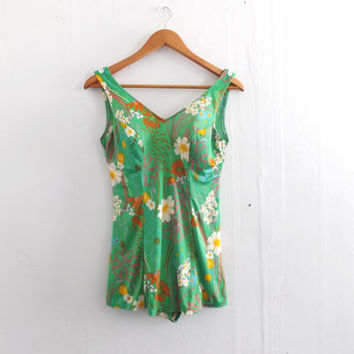 Size 12 Large Vintage 1960s 70s Green  Groovy Floral Low Hip One Piece Bathing Suit Retro Medium Rockabilly Swimsuit Bodysuit Pin Up