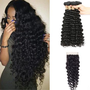 4 Bundles Human Hair Bundles Weave Wet And Wavy Hair With Lace Closure Non Remy Brazilian Deep Wave With Free Part Closure