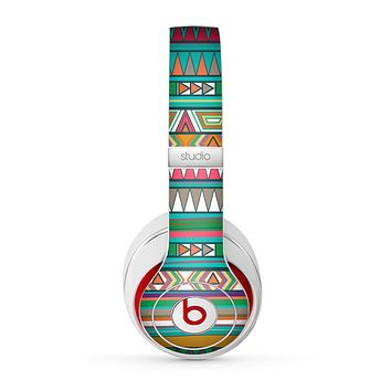The Tribal Vector Green & Pink Abstract Pattern V3 Skin for the Beats by Dre Studio (2013+ Version) Headphones