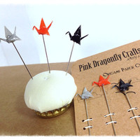 Origami Mini Crane Pin Toppers or by PinkDragonflyCrafts on Etsy