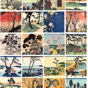 Vintage Asian Japanese trees blossoming tree woodblock art illustrations clip art collage sheet 2 inch squares