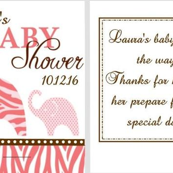 8 Pink Elephant Safari Baby Shower Nail File Favors