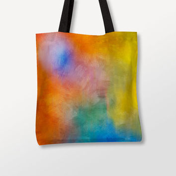 Colorful Tote Bag, Abstract Art, Multicolor Fabric, Shoulder Bags