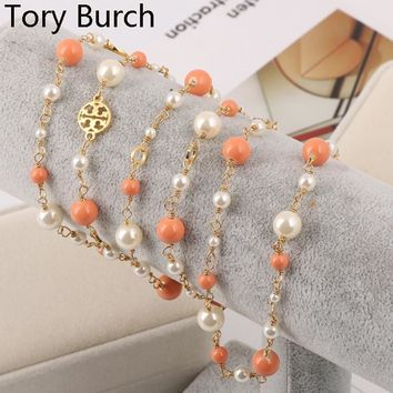 Tory Burch New Fashion High Quality More Pearl Necklace Women Sweater Chain