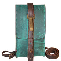 Classico Handmade Leather Satchelita Phone Case - Turquoise