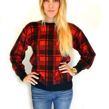 80s Red and Black Plaid Knit SWEATER Womens Outerwear