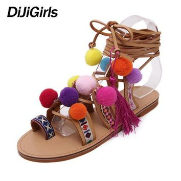 Plus Size 35-41 Ethnic Bohemian Summer Woman Pompon Sandals Gladiator Roman Strappy Kn