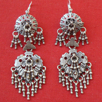 vintage antique ethnic old silver earrings tribal belly dance jewelry indian