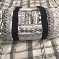Aztec styled black and white print duffle bag. Great for ...
